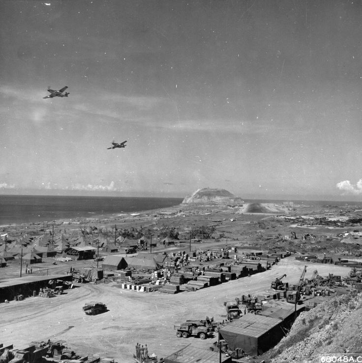 Iwo Jima after the invasion, 1945.