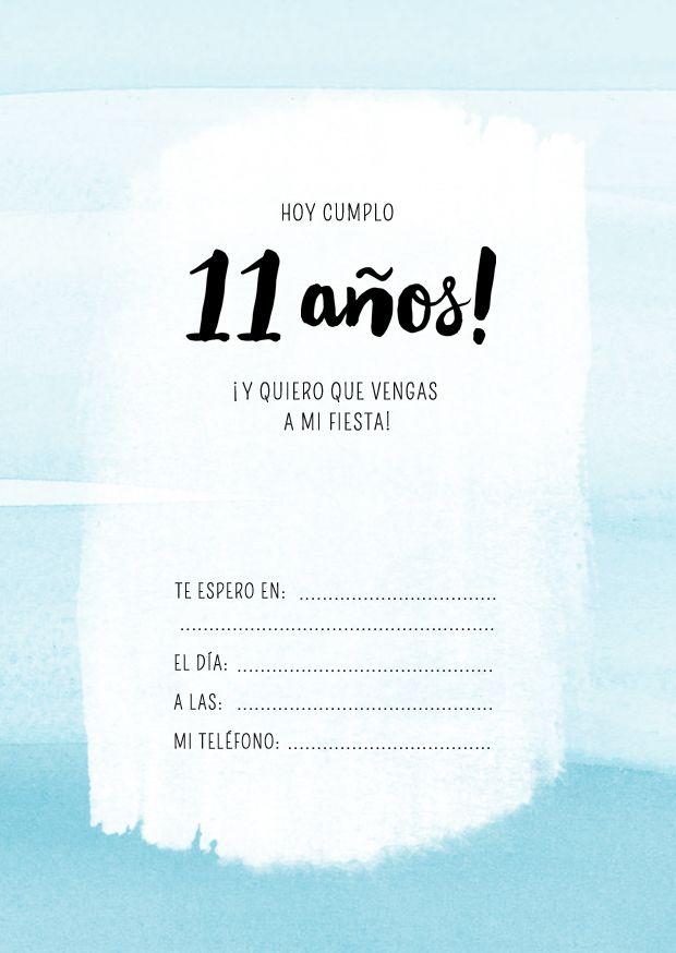 Invitación Cumpleaños 11 Años Tarjetas Invitacion