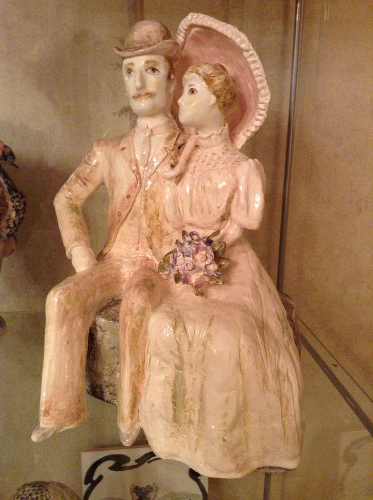 Мои бабушка и дедушка с фото 1905 года.   #ceramics #IrinaPirogova #prostyeludi