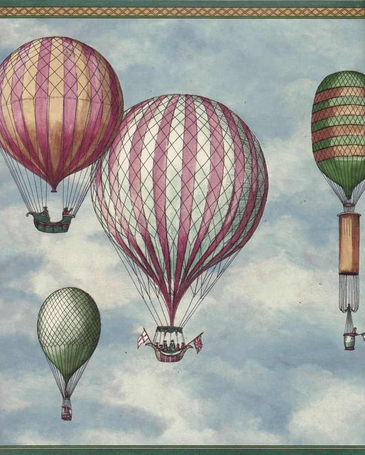 Balloon dirigible hot air airship flag wallpaper border Vintage
