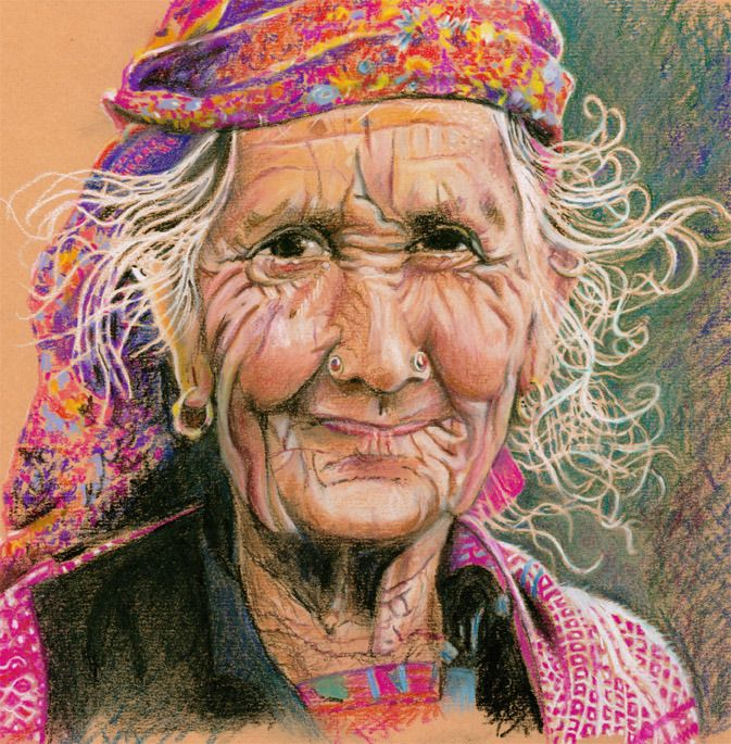 """I painted this lady twice.  This is the first try.  Couldn't figure out why she kept coming out so skinny.  It was because I'd oriented my paper in """"portrait"""" instead of """"landscape"""" position.  It's amazing how we tend to paint to the shape of our paper."""