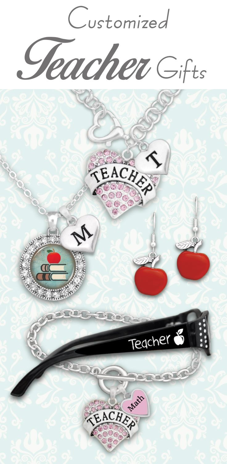 Teacher jewelry and gifts for $9.98! Charms for custom initials, subjects, grades, and reading glasses with custom strength!