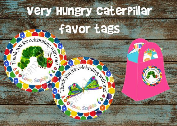 The Very Hungry Caterpillar Favor tags, Very Hungry Caterpillar personalized tags,Caterpillar labels, Caterpillar sticker, Caterpillar party