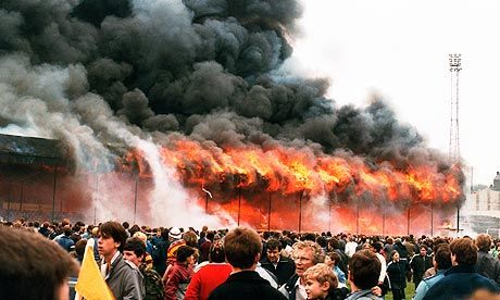 Video footage of the fire which happened at Bradford City on 11 May 1985, shows spectators just staring at the flames. Photograph: Hulton-Deutsch Collection/CORB