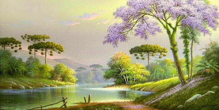 Imágenes con paisajes selváticos y del campo ,pinturas realizadas por Horst Schnepper , pintor deCuritiba Brasil, obras con frescos clima...