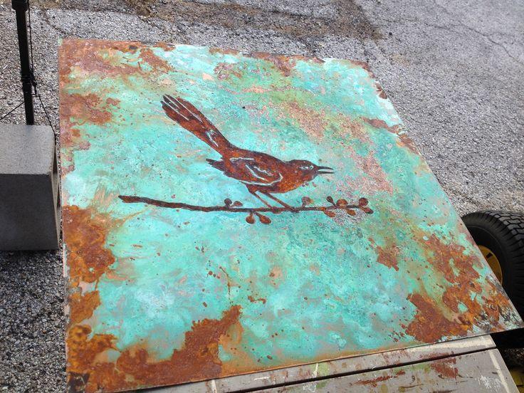 Metal panel bird art with modern masters metal effects patinas