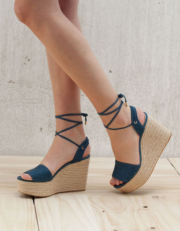 Lace-up denim wedges - Shoes - Bershka Jordan