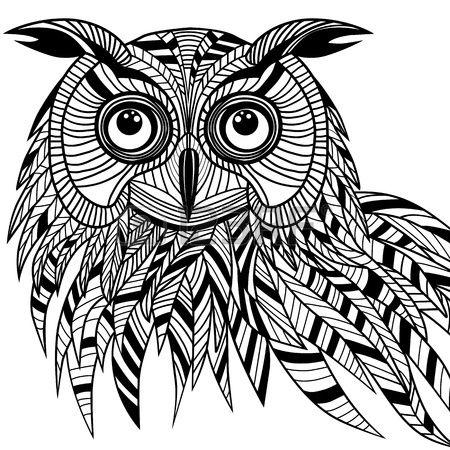 Сова головы птицы как символ Хэллоуина талисман или эмблема дизайн, иллюстрация логотип вектор для футболки дизайн татуировки эскиз photo