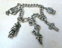 Vintage Rare Miracle Chunky Scottish Charm Bracelet.
