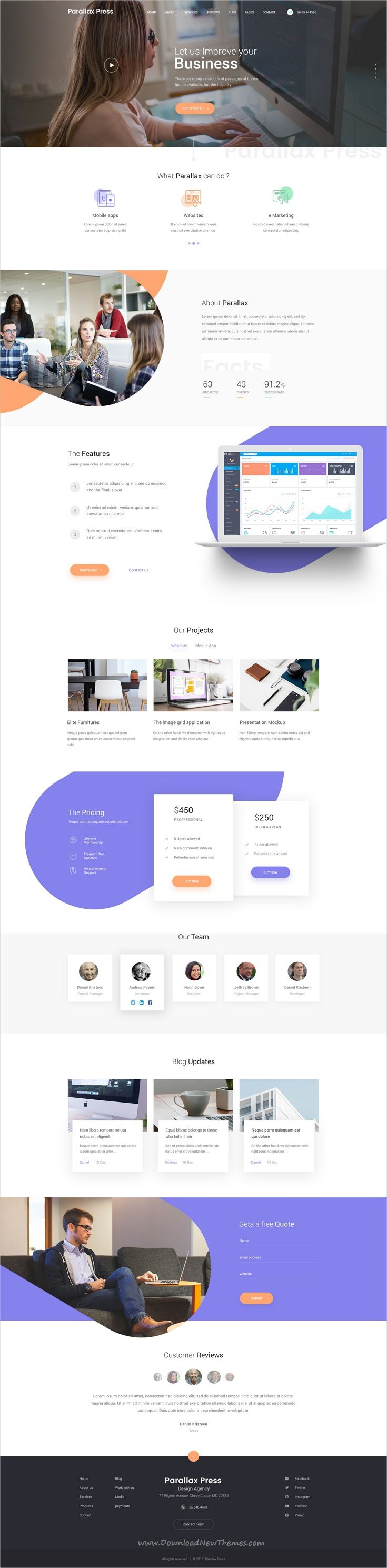 Parallax Press is clean and modern design #PSD template for multipurpose onepage #business agency website download now..