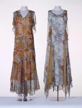 Evening Gown with Capelet & Party Dress, c. 1929.