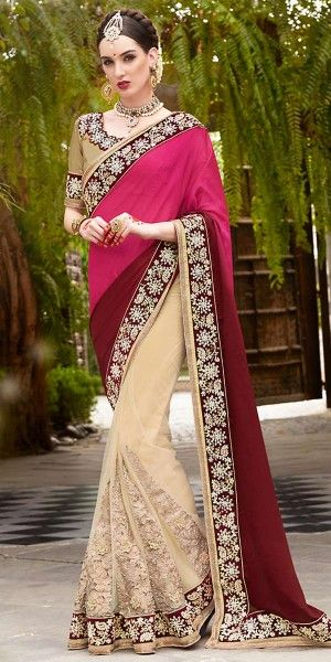 Peaceful Maroon And Cream Chiffon Saree With Blouse.