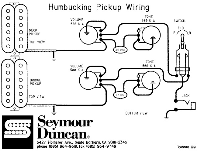 schematics  humbucking two pickup gibsons