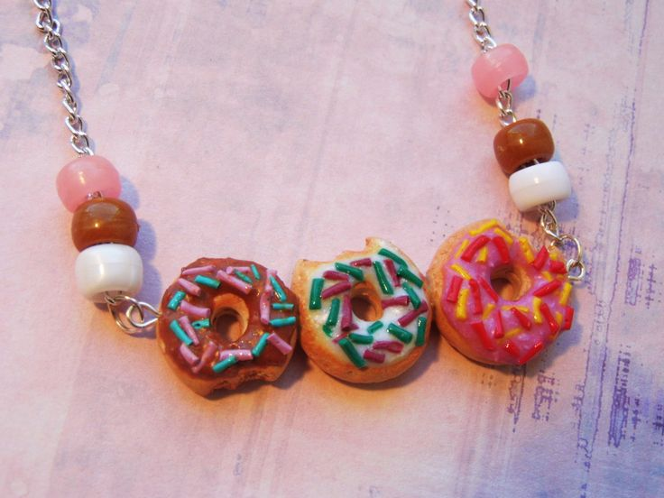 Iced Donut Necklace, Kawaii Donut Necklace, Strawberry, Chocolate, Vanilla Donuts, Donuts with Sprinkles, Donut Jewelry by SapphireMoonCrafts on Etsy