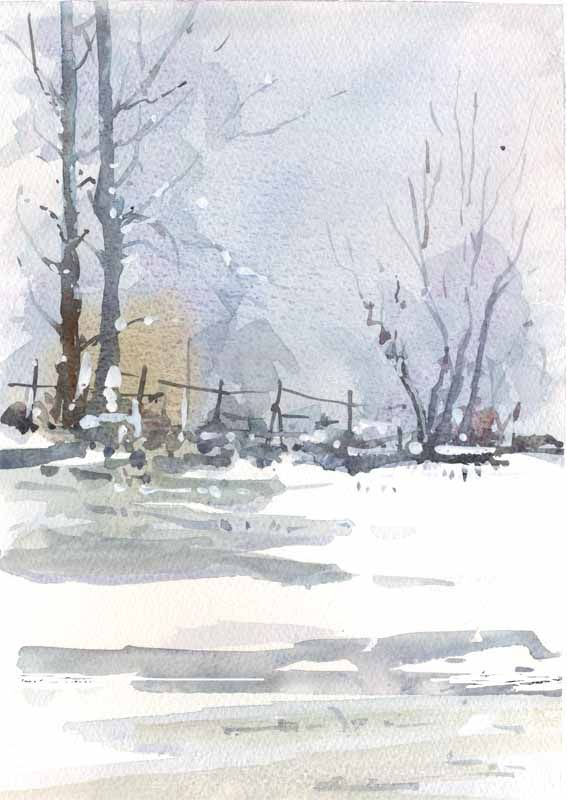 Snow (after Wesson) Watercolour, Allan Kirk