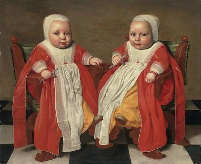 1630-40. Portrait of  The Twin Daughters of The Artist at 33 weeks. Jacob Gerritsz Cuyp. Alte Pinakothek, Munich.