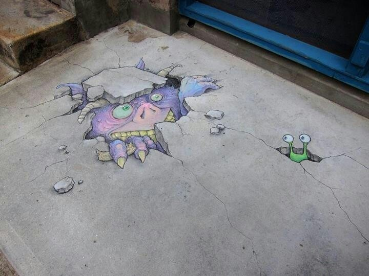 Best David Zinn Chalk Art Images On Pinterest Artists The - David zinns 3d chalk art adorably creative