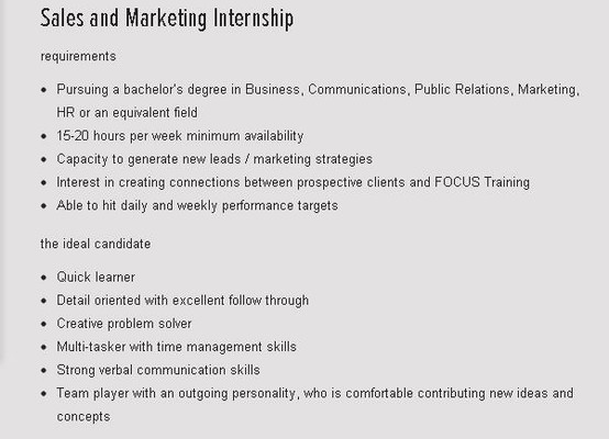 Sales and Marketing Internship Resumes and questions can be - logistician resume
