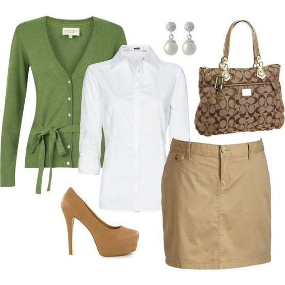 Teacher clothes!: Shoes, Green Sweaters, Colors Combos, Work Clothing, Khakis, Skirts, Teacher Clothing, Work Outfits, Business Casual