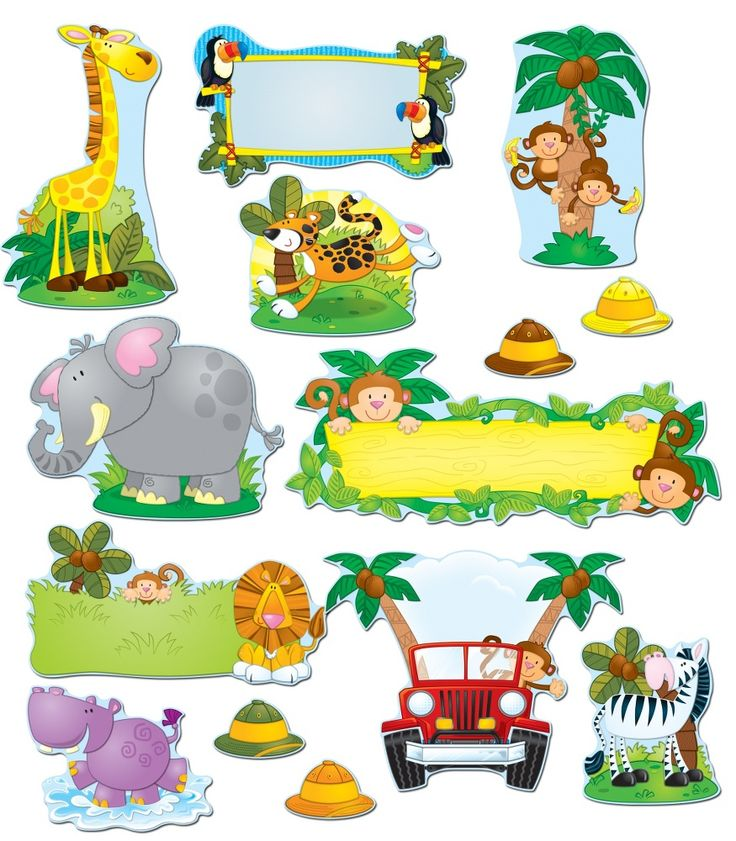 "This year is going to get wild! This colorful, jungle-themed bulletin board set includes:    A blank monkey sign (approx. 23.25"" x 9.5"")  A blank toucan sign  A blank lion sign  A sports utility vehicle  Assorted jungle animal accents: monkeys, a leopard, a giraffe, a hippo, a toucan, and a zebra  34 safari hats (brown, green, yellow, orange)  A resource guide"