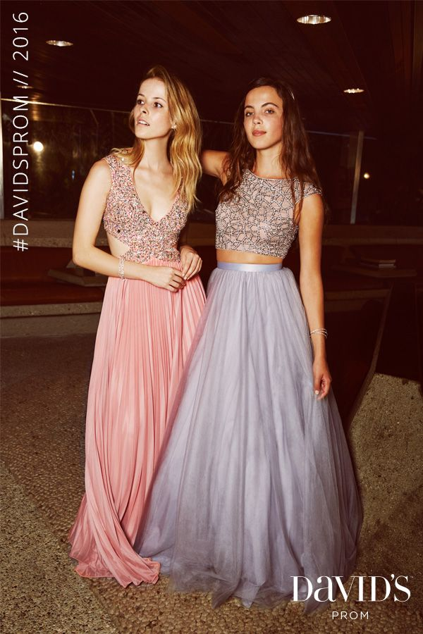 Shop David's Prom for dresses with chic cut outs, crop tops, and more top trends for Prom 2016. Styles start at $99.95!
