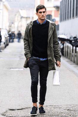 モッズコート着こなし秋冬はスキニーパンツとあわせてYラインを形成しましょうそれがモテるファッションのコツです