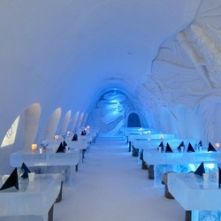 Chill out in this hotel completely made of snow in Finland.