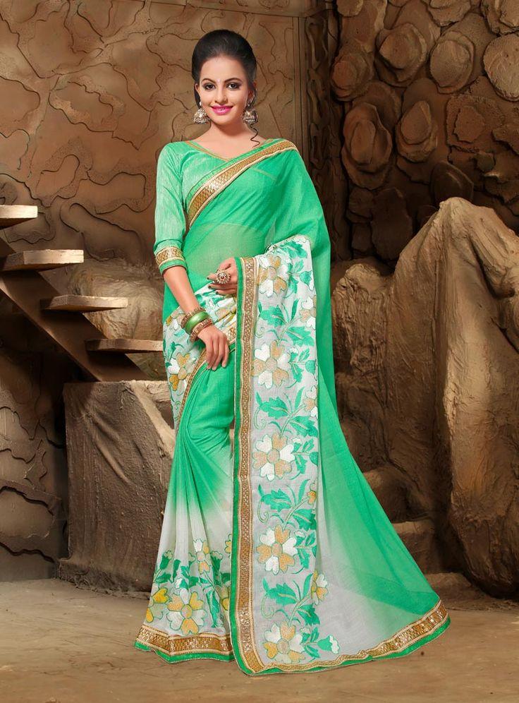 Green Chiffon Saree With Blouse 80878