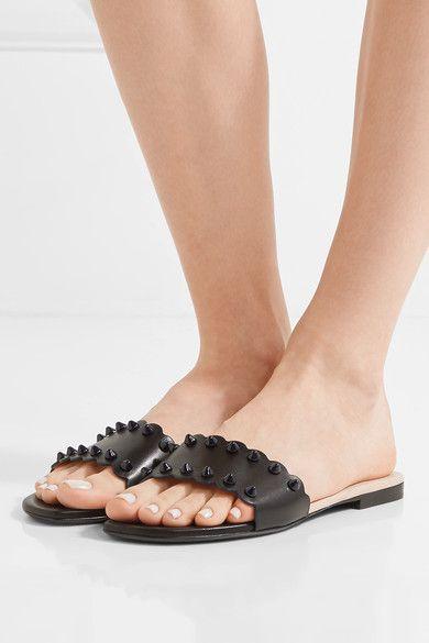 Fendi - Scalloped Studded Leather Slides - Black - IT37.5