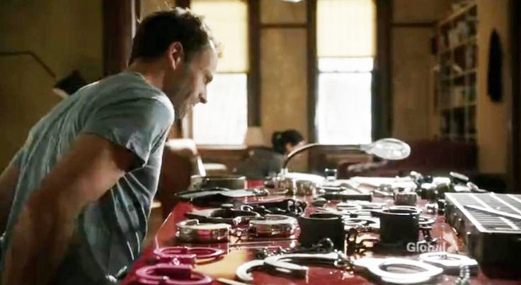 "Sherlock practices with his impressive collection of handcuffs.  (""Elementary,"" season 1)  #elementary"