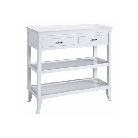 This is the perfect size for a great nightstand. Paint it and put baskets on the shelves for your magazines!! I pinned this Tamara Hall Table in White from the Preppy Office event at Joss and Main!