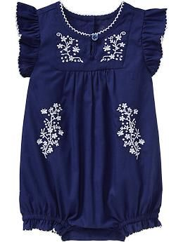 Embroidered Bubble One-Pieces for Baby | Old Navy 16.94 This would be sooo cute with white jeans or shorts!