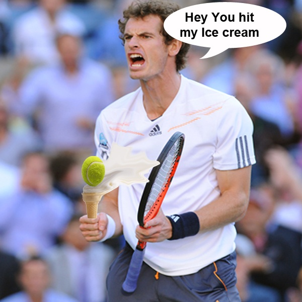 Andy murray not happy when Novac Djokovic knocks the top off his ice cream.