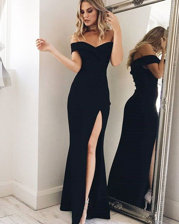 b848e615759 Off the Shoulder Simple Black Mermaid Prom Dress with Side Slit ...