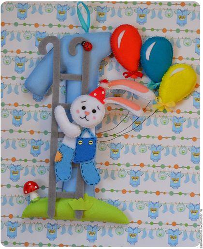 Купить или заказать Праздничные цифры из фетра на день рождения в интернет-магазине на Ярмарке Мастеров. Праздничные цифры из фетра на день рождения. Повесьте цифру на стену или вставьте в нее шпажку и украсьте ею торт!