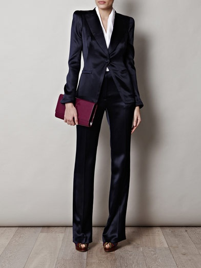 Alexander McQueen satin tuxedo suit. It's what I'd wear for the most important business meeting of my life.