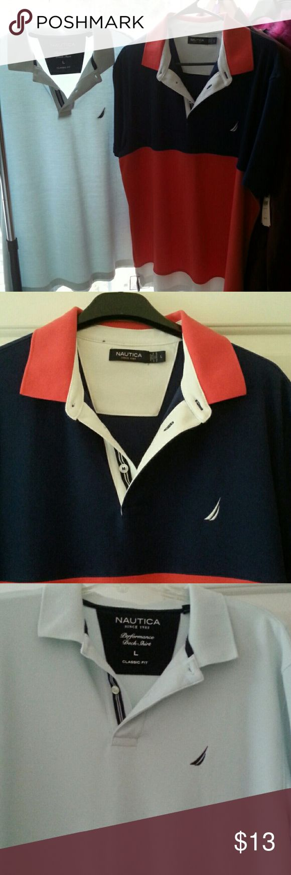 Mens Nautica Deck Shirts large Red white &blue NWOT, Pale blue worn 1x...both in ex condition Nautica Shirts Polos