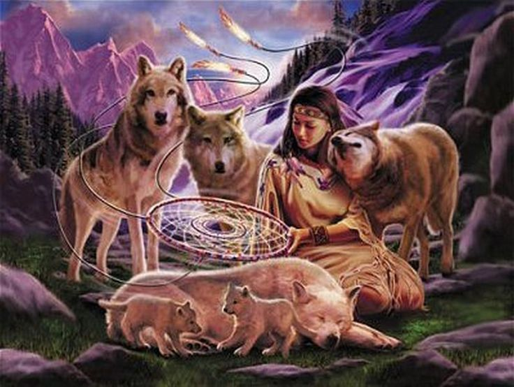 mystical fantasy pictures | Dreamer with wolves bears fantasy native mystic - HD Wallpaper #483843