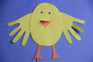 Kid-friendly art project: Handprint baby chicks