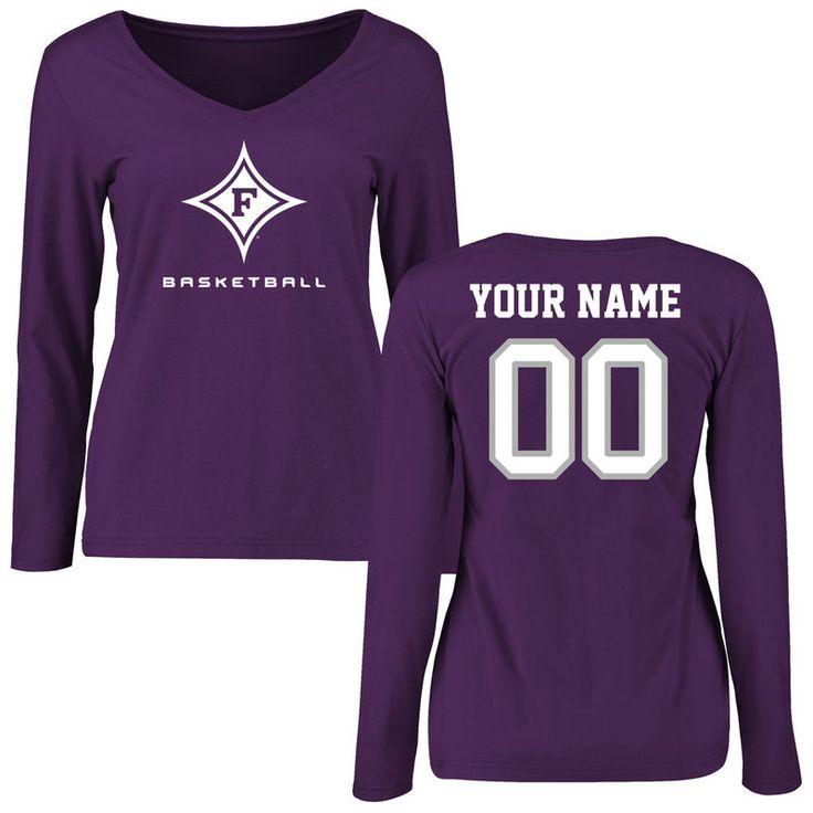 Furman Paladins Women's Personalized Basketball Slim Fit Long Sleeve T-Shirt - Purple