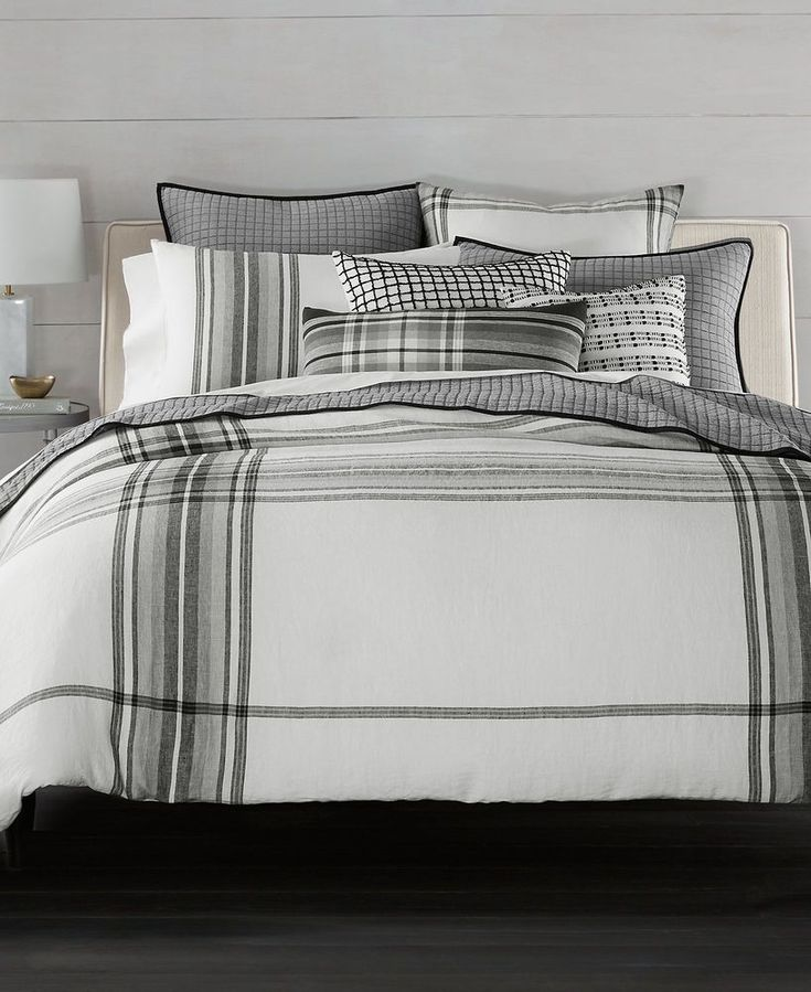 Hotel Collection 100% Linen Plaid Multi Full Queen Duvet / Comforter Cover $385 #HotelCollection #Modern