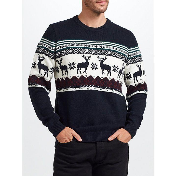 Buy John Lewis Christmas Charity Reindeer Jumper, Navy, S Online at johnlewis.com