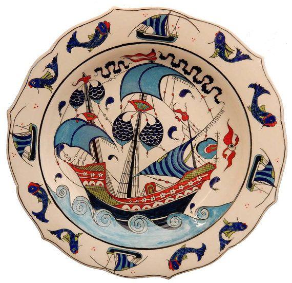 iznik tile 16. century Ottoman ceramic iznik tile with ship depictions iznik ceramic ship old sailor vintage by nurceramicarts