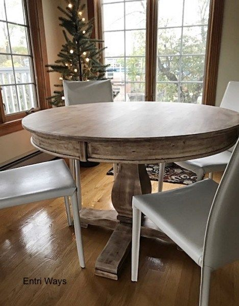 Naturally-aged wood pedestal  table;  Refinished furniture by Entri Ways