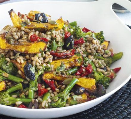Squash & barley salad with balsamic vinaigrette    301 kcalories, protein 6g, carbohydrate 40g, fat 14 g, saturated fat 2g, fibre 0g, sugar 9g, salt 0.55 g