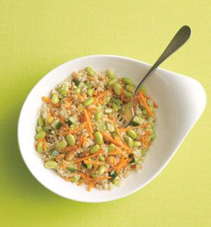 MUST TRY! Quinoa and Edamame Salad w/Sesame-Ginger Dressing.  In a bowl, combine 1 cup cooked quinoa, 2/3 cup shelled cooked edamame, 1/4 cup shredded carrots, 1/4 cup chopped cucumber. In another bowl, combine 2 tsp toasted sesame oil, 1 tsp rice wine vinegar, 1 tsp low-sodium soy sauce, 1/2 tsp grated ginger, 1/4 tsp garlic powder; toss with quinoa mixture.