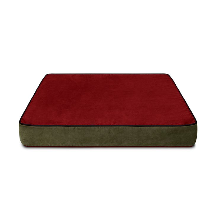 Colorado Mountain Suede Microfiber Cover for Buddy Beds Memory Foam Dog Beds. Reversible.  This side:  red with black piping