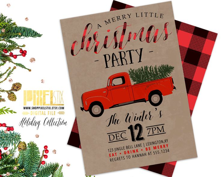 Christmas Party Invitation, Red Truck Invite, Retro Holiday Party, Griswold, Flannel Invitation, Buffalo Plaid, Vintage Christmas, Kraft by shopPIXELSTIX on Etsy