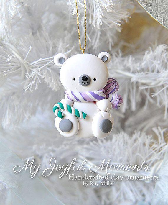 Ornamento de Oso Polar de arcilla de polímero artesanal