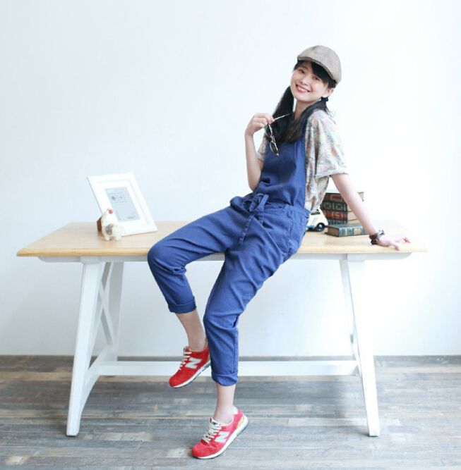 2016 New Women spring solid color Vintage Literature Jumpsuits harem pants Loose Overalls Casual Trousers Mori on http://ali.pub/jlf91